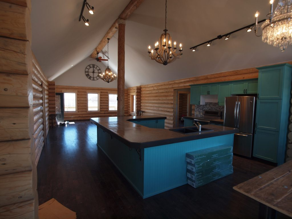 milled log package home interior
